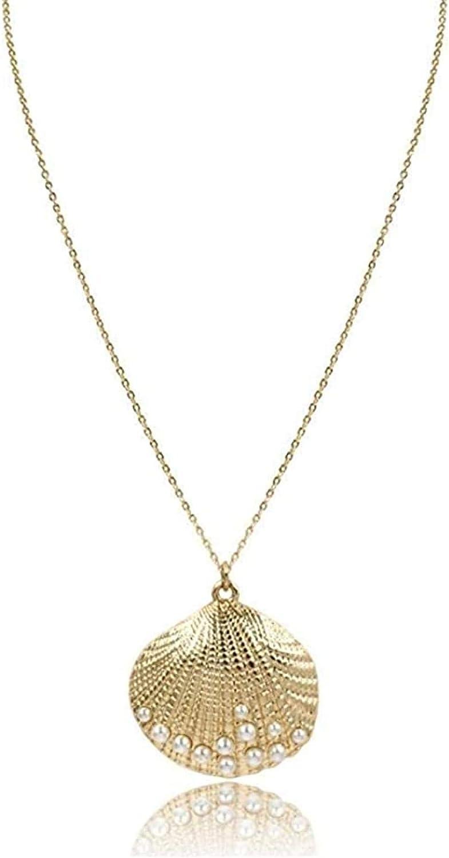 GLLFC Collar Collar de Concha Colgante Lindo Collar de Concha de Color Dorado con Perlas Collar Decorado para Mujer Collar de joyería de Fiesta de señoraCollar para Mujeres Hombres