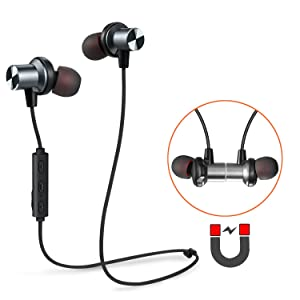 Bluetooth Earbuds, Tesson T890 Wireless V4.1 Magnetic Headphones Super Bass Stereo Noise Cancelling Earphones, Sweat proof,Comfortable , Secure Fit for Sports with Built-in Mic