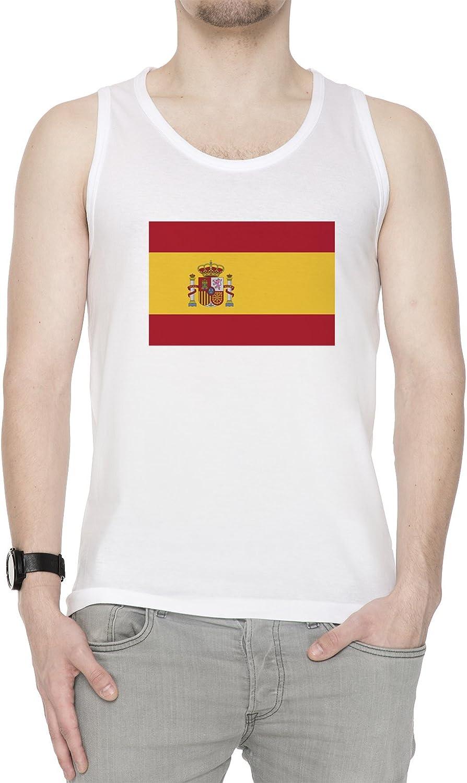 España Nacional Bandera Hombre De Tirantes Camiseta Blanco Tamaño ...