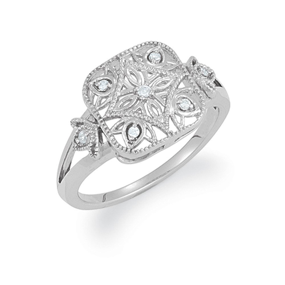 Vintage Style .05 Ctw (G-H, I2) Diamond Square Ring in Silver Size 7
