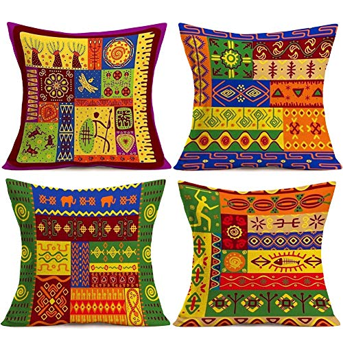 African Pillowcase - YANGYULU Multicolor African Tribal Totem Throw Pillow Covers Cases Cotton Linen Burlap Square Decorative Cushion Case Covers Standard Pillowcase for Sofa Couch 18 x18 Inches 4 Pcs (African Tribal)