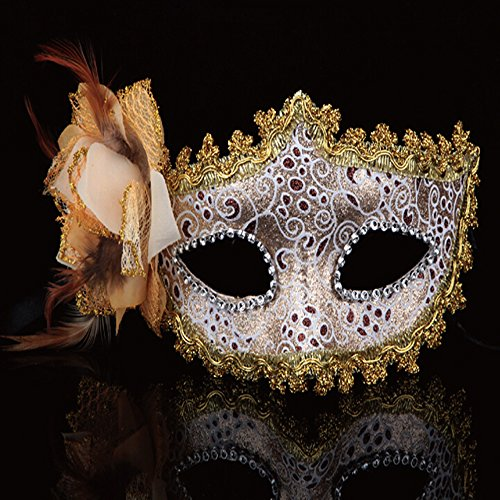 KAKA(TM) Mask Costume Cosplay Ball Dancing Party [Halloween] Princess Masks Facial Masquerade Glitter - Grace Orange - Dormouse Costumes