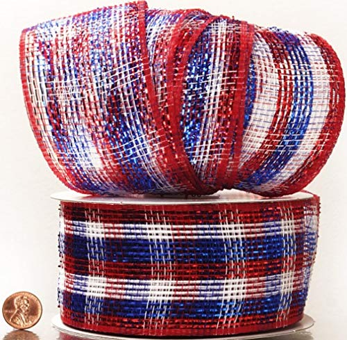 Patriotic Metallic Stripes Deco Mesh Ribbon 2 1/2