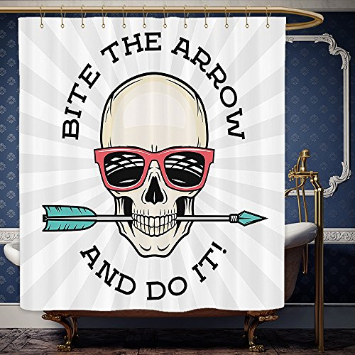 Wanranhome Custom-made shower curtain Skulls Set Hipster Skull with Punk Sunglasses and Arrow in Mouth Dead Vibes in Retro Graphic Print Multi For Bathroom Decoration 69 x 90 - Inside Meme Sunglasses
