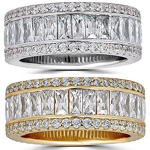Real Solid 925 Silver His Or Hers Baguette Tennis Ring - Wedding Band Or Hip Hop Pinky Ring - Iced Out Eternity Ring (Gold-Plated-Silver, 7)