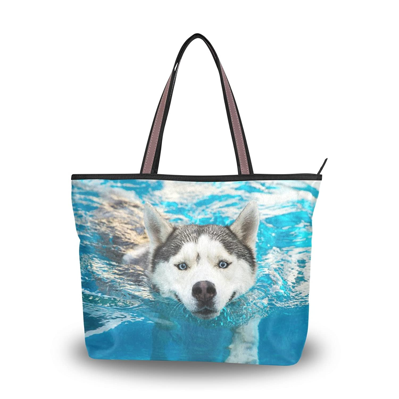 Women's Fahion Book Bag Shoulder Bags,Cute Husky Dog Pet,Travel Bag Design 13