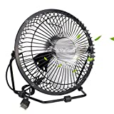 Cheap Mini USB Table Desktop Personal Fan, Metal Design, Quiet Operation, USB Cable Powered, High Compatibility Personal Table Fan with Adjustable Tilt, Desk Cooling Fan for Home Office (6 inch Black)