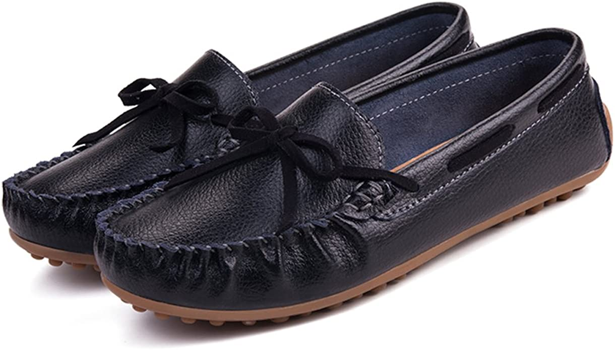 Z.SUO Womens Leather Moccasins Casual Loafer Flat Boat Shoes Lace-Up Slip On Driving Shoes