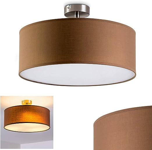 Flur Wohn Schlaf Zimmer Decken Leuchte braun mit 3 Philips LED 11,5W Lampen Glas