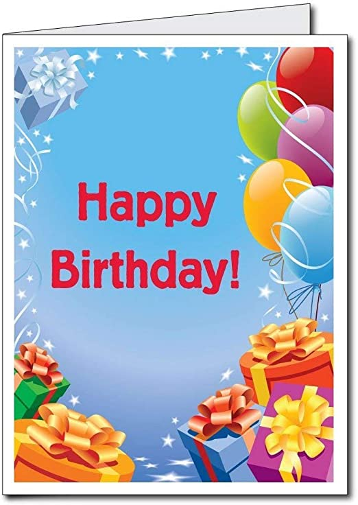 VictoryStore Jumbo Greeting Cards: Giant Birthday Card (Presents and Balloons), 2 Feet by 3 Feet Card with Envelope