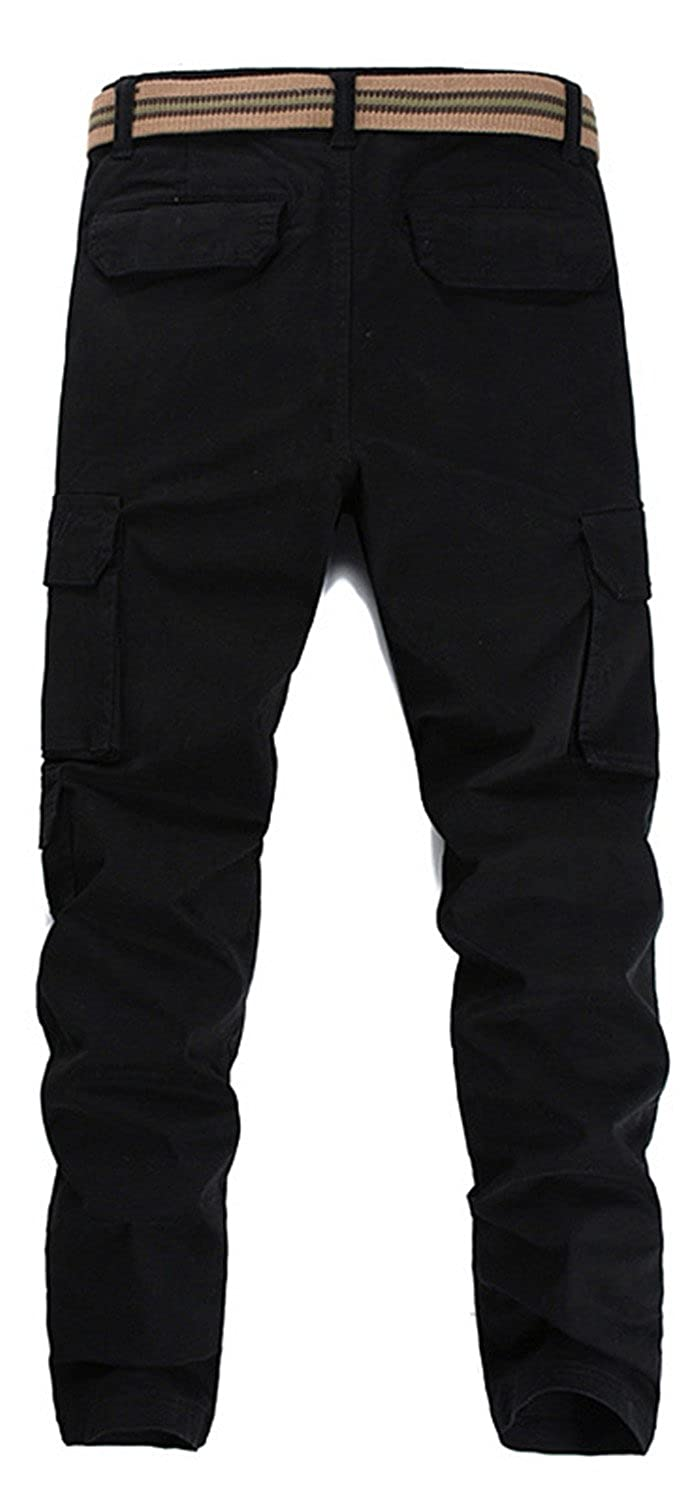 Wsirmet Mens Slim Fit Straight Leg Elastic Sports Casual Multi-Pockets Cargo Pants
