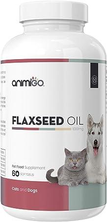 Animigo Linaza en Cápsulas Antialergico para Gatos y Perros | Suplemento Natural con Omega 3, Vitaminas, Minerales y Nutrientes para Alergia | Fortalece y Protege el Pelo y la Piel | 60