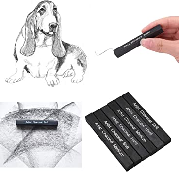 SQUARE COMPRESSED BLACK CHARCOAL 2 PACKS OF 3 SQUARE DRAWING STICKS