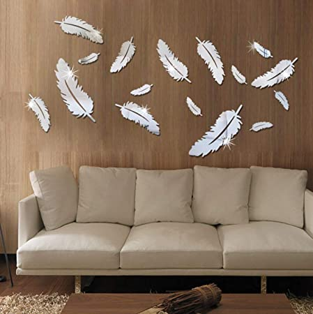 Removable Adhesive 3D Feather Mirror Wall Living Room Bedroom Bathroom Y1Q1