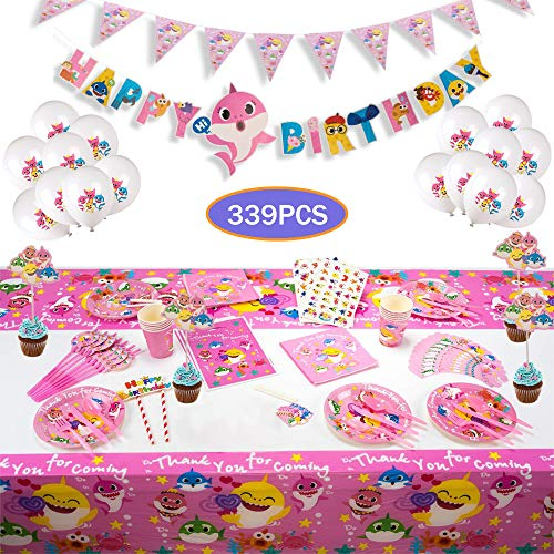 Cute 339pcs Pink Baby Shark Party Tableware Kit Supplies serve 16 Guests-Baby Shark Birthday Decorations - Disposable Tableware includes 16 Cake Topper Wrapper 16 Balloons 16 Gift Bag 32 Pennant Plates 16 Spoon, 16 Cups, 16 Napkins, 16 Straws, 2 Table Covers, 1 Banner, 1 Flag,133pcs Baby Shark Temporary Tattoos For Kids Girl Birthday Carnival Party
