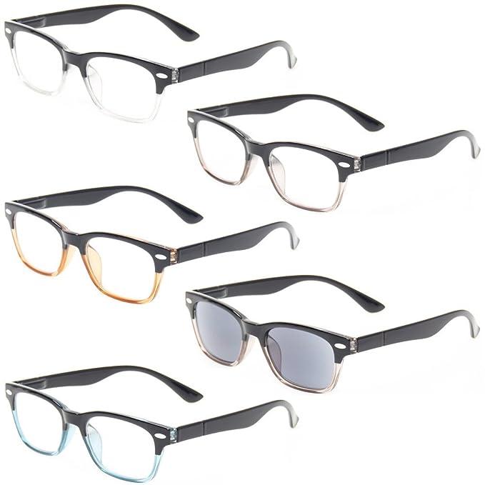54f02e4ce8d Kerecsen 5 Pack Spring Hinge Reading Glasses Includes Sunglasses Readers  Men Women (5 Pack Mix