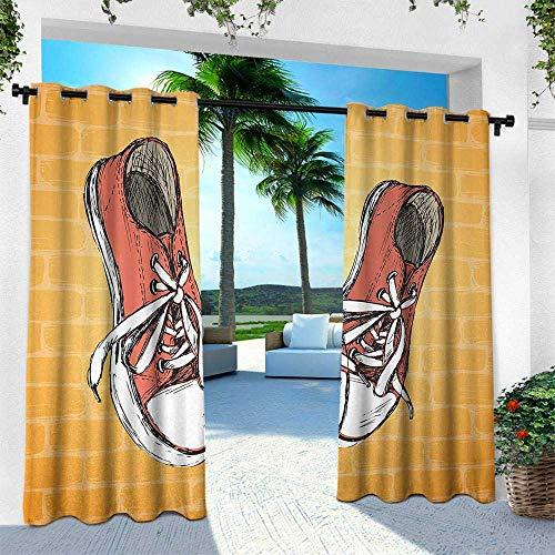 Urban, Silver Grommet Top Drape,Vintage Sneakers on Brick Wall Hand Drawn Illustration Sporty Urban Youth Theme, W96 x L96 Inch, Orange Brown