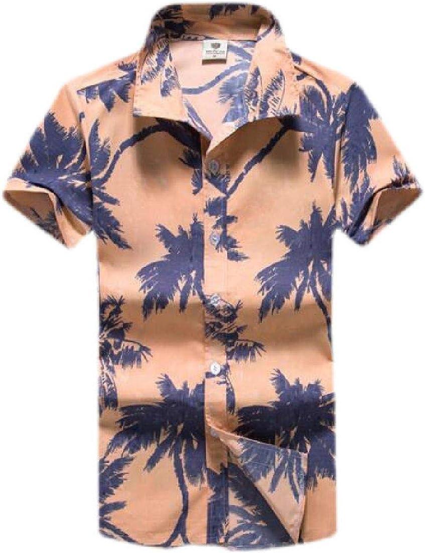 UUYUK Men Shirts Hawaiian Casual Beach Button Up Short Sleeve Aloha Printed Shirt