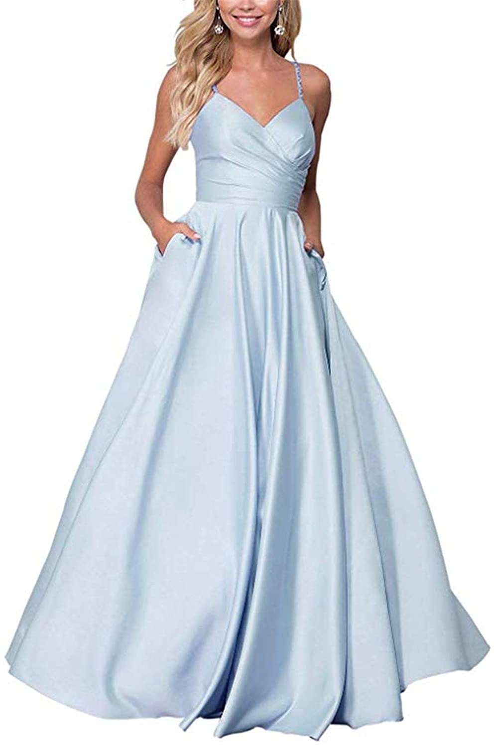 Light bluee QiJunGe Women's V Neck A Line Prom Dress with Pockets Satin Spaghetti Formal Ball Gown