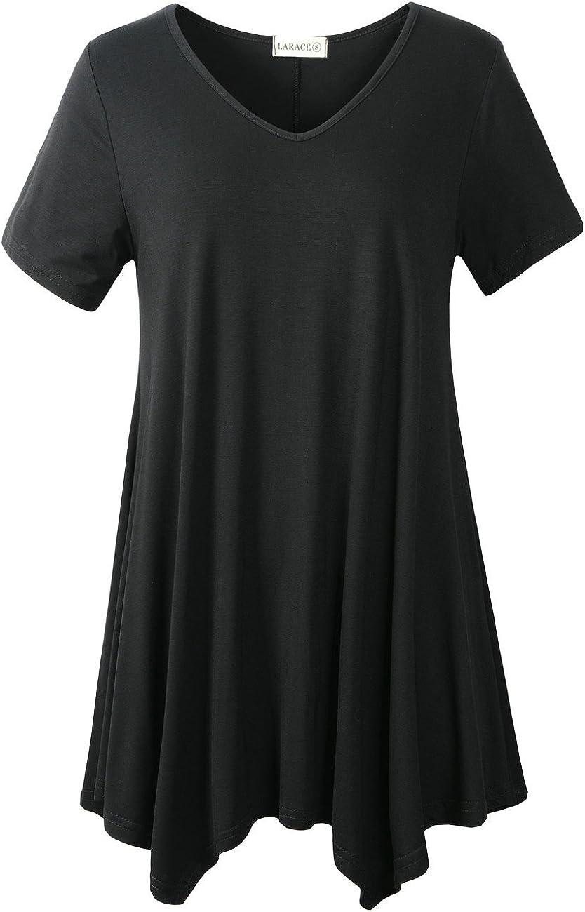 LARACE Women Casual T Shirt V-Neck Tunic Tops for Leggings