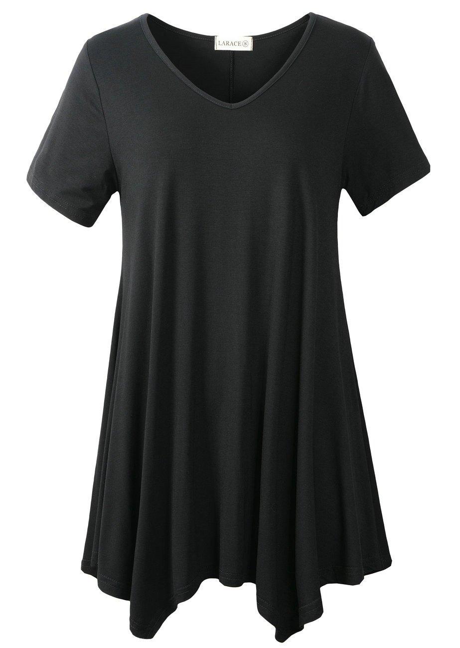 LARACE Women Casual T Shirt V-Neck Tunic Tops for Leggings(1X, Black)
