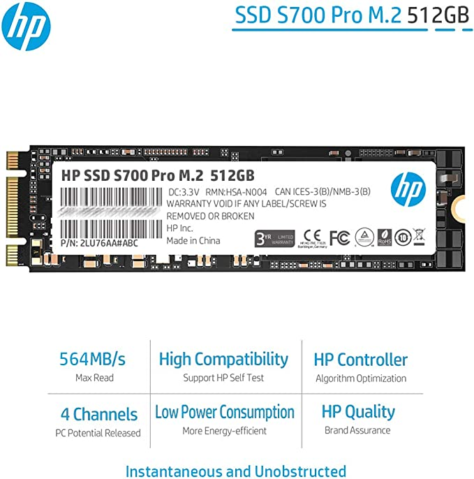 HP Hewlett Packard 2LU76AA#ABB - Disco Duro Interno SSD de 512 GB ...