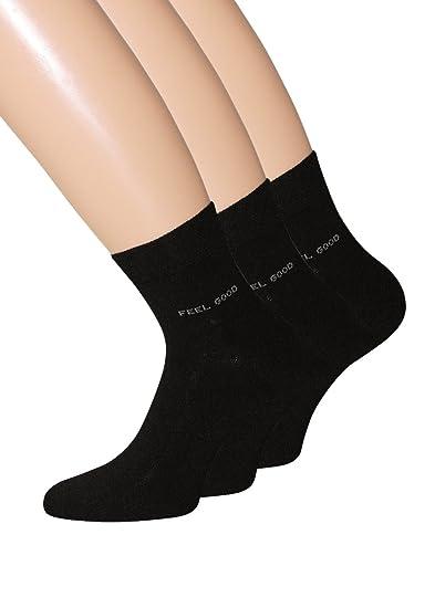 3 pares de calcetines Negro Corto de mango con puntas remalladas y Comfort cintura Talla 43 - 46: Amazon.es: Ropa y accesorios