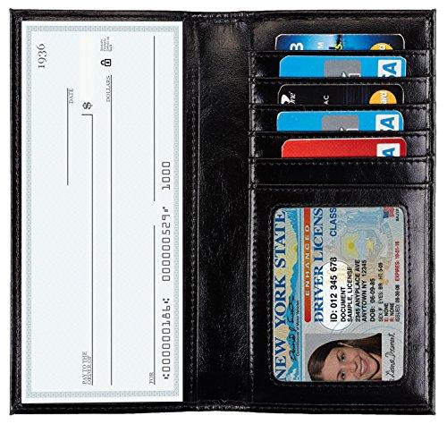 NapaWalli Genuine Leather Checkbook Cover For Men & Women Card Holder Wallet RFID Blocking (vintage black) (Cover Checkbook Black)