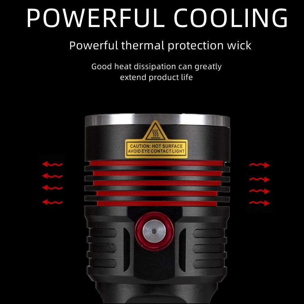 Alonefire H42 Lampe de Poche LED Tactique Ultra Puissante 8000 Lumens /élev/és Super Lumineuse 3PCS XHP50 USB Rechargeable 3 Modes avec 4 x 18650 Batterie pour Camping Chasse Police Randonn/é Militaire