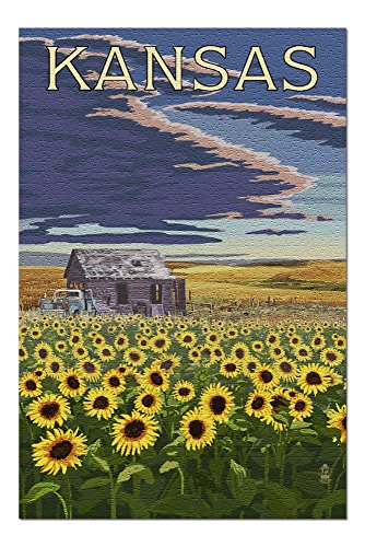 (Kansas - Wheat Fields - Shack and Sunflowers (20x30 Premium 1000 Piece Jigsaw Puzzle, Made in USA!))