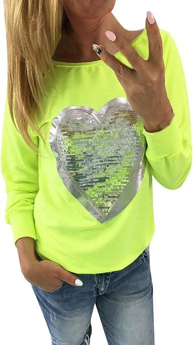 Caramelo de Mujer Fluorescente Cuello Redondo Manga Larga Corazón Camiseta de Lentejuelas Casual Elegantes Blusa Delgado Sudadera Camiseta Oficina Camisa riou: Amazon.es: Ropa y accesorios
