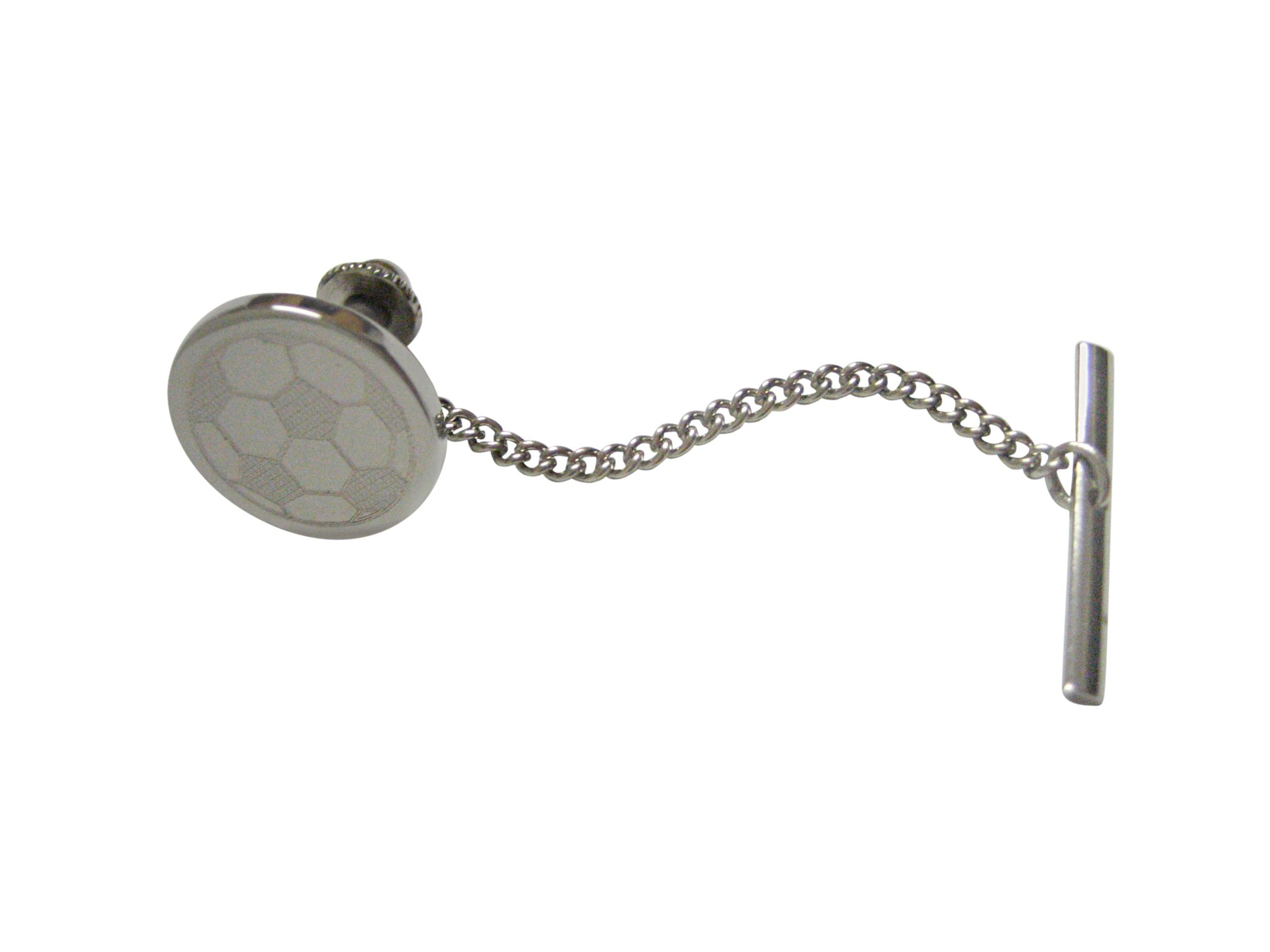 Silver Toned Etched Round Soccer Ball Tie Tack