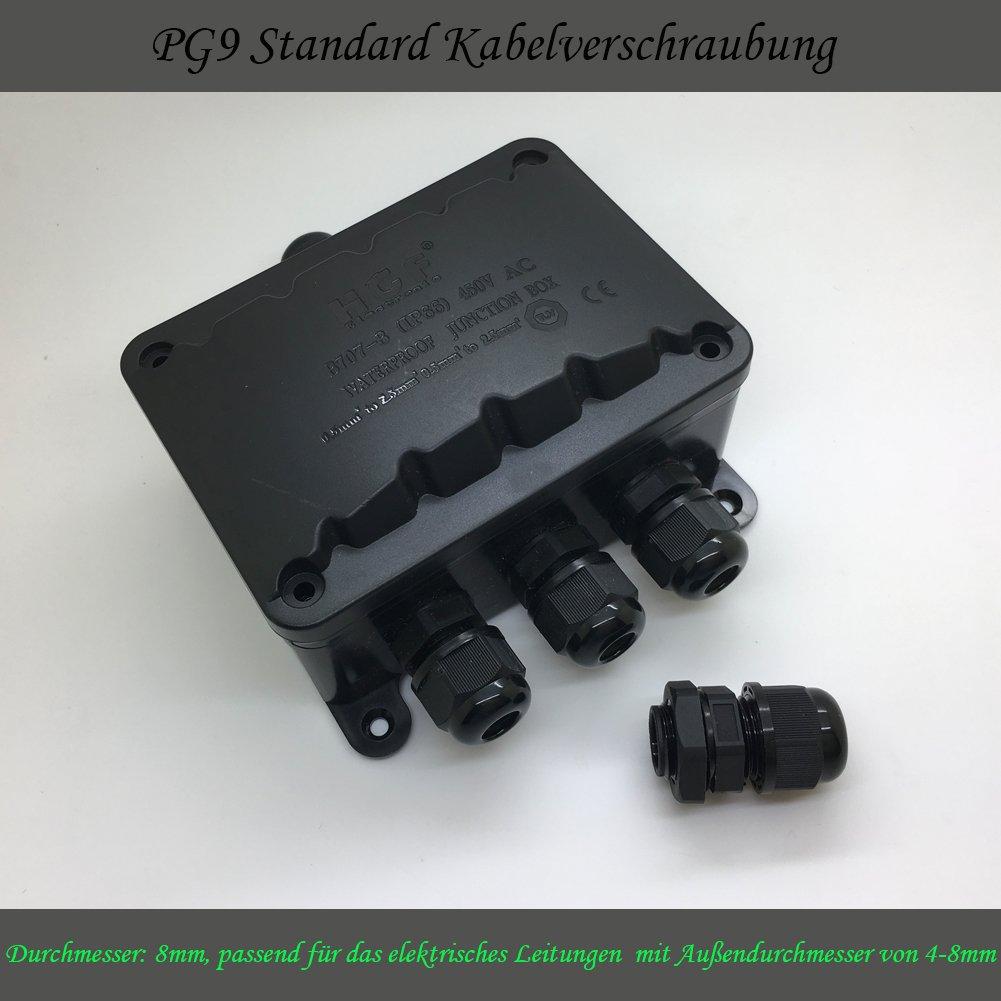 1 Pi/èce 2-Fa/çon 107*80*45mm Bo/îte de jonction /Étanche IP66 Connecteur c/âble /Électrique Ext/érieur /Équip/é avec 4-Canaux Borne de Fil