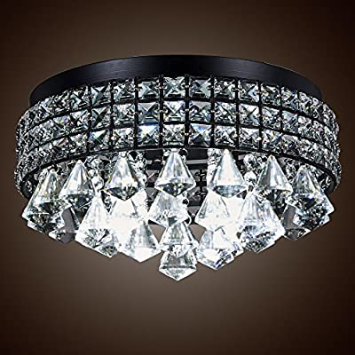 SwanHouse Flush Mount Chandelier Pendant Ceiling Lighting Black Modern KTM-14i-4L/B 16x16x8