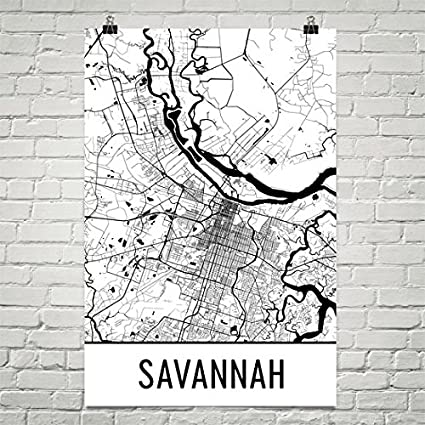 Amazon Com Modern Map Art Savannah Poster Savannah Art Print