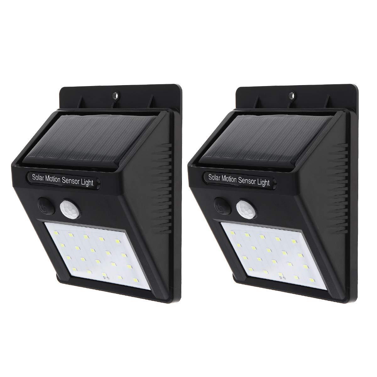 SecurityIng 20 LEDs Solar Power Wall Light, Waterproof PIR Motion Sensor Security Wireless Outdoor Light for Patio, Deck, Yard, Garden, Driveway, Outside Steps (2 Pack)