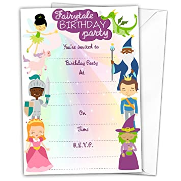 Pack Of 20 Glossy Fairytale Birthday Party Invitations Cards With 20