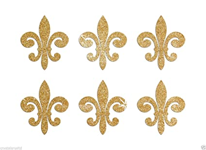 amazon com 24 gold fleur de lis self adhesive glitter stickers card