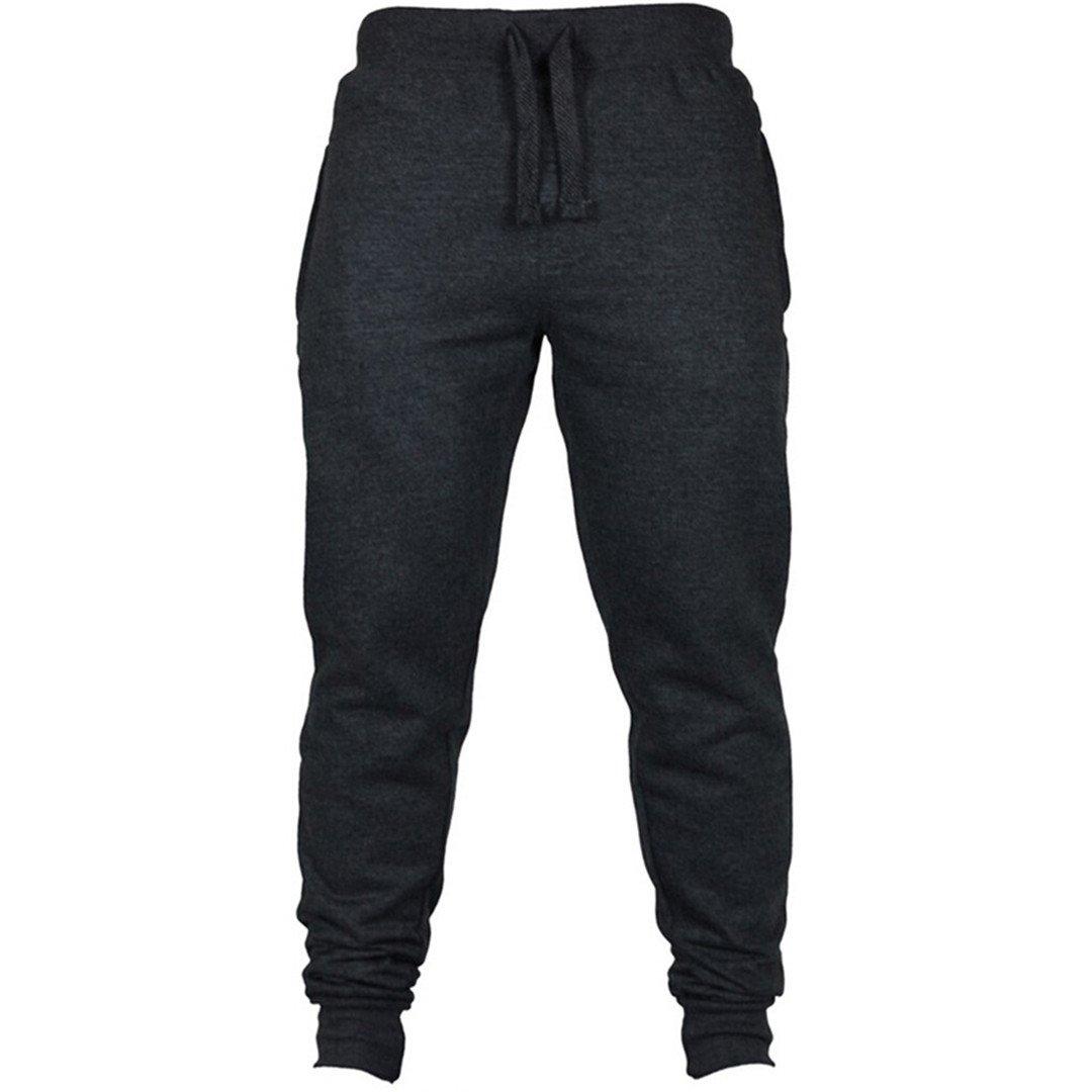 Black Casual Elastic Cotton Fitness Workout Pants