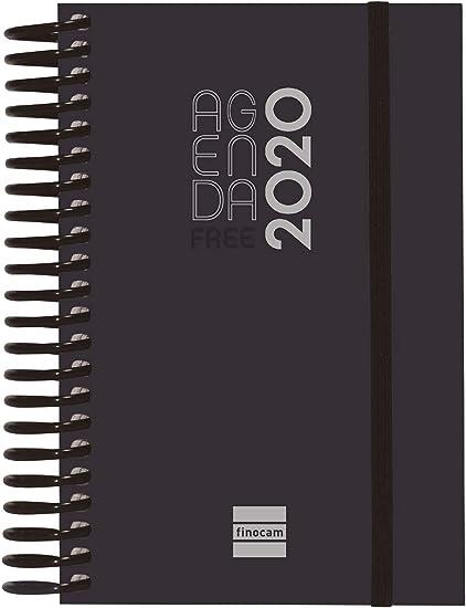 Finocam Espiral Free, Agenda 2020 1 Día Página Español, Negro ...