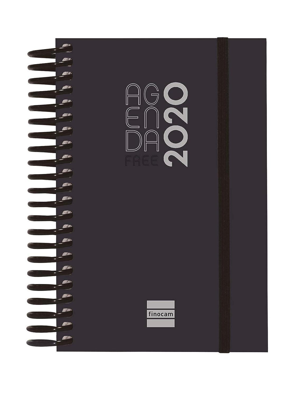 Finocam Agenda 2020 1 d/ía p/ágina Espiral Free Negro espa/ñol