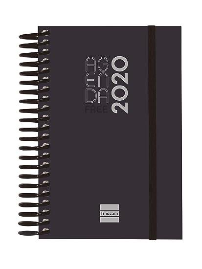 Finocam - Agenda 2020 1 día página Espiral Free Negro español