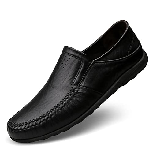 e2e56440cf3284 Coolloog Men's Moccasin Slippers Cowhide Leather Upper Fashion Style  Driving Shoes Rubber Sole Indoor Outdoor House