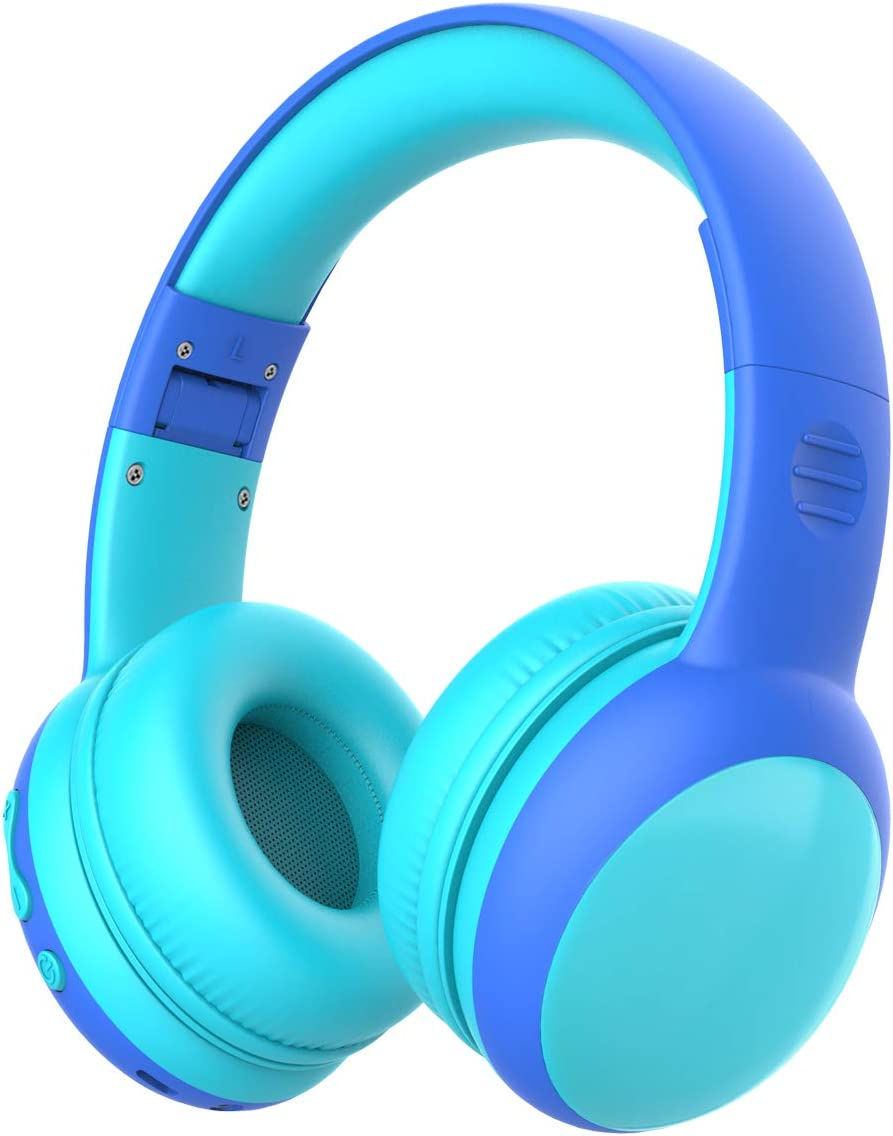 gorsun Bluetooth Kids Headphones with 85dB Limited Volume, Children s Wireless Bluetooth Headphones, Foldable Bluetooth Stereo Over-Ear Kids headsets – Blue