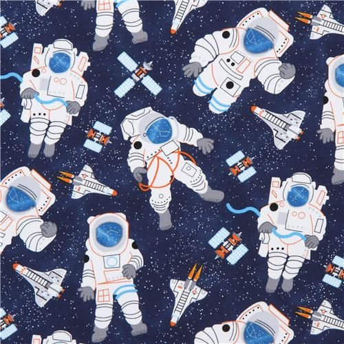 (Navy blue with astronaut rocket satellite fabric Timeless Treasures (per 0.5 yard unit))