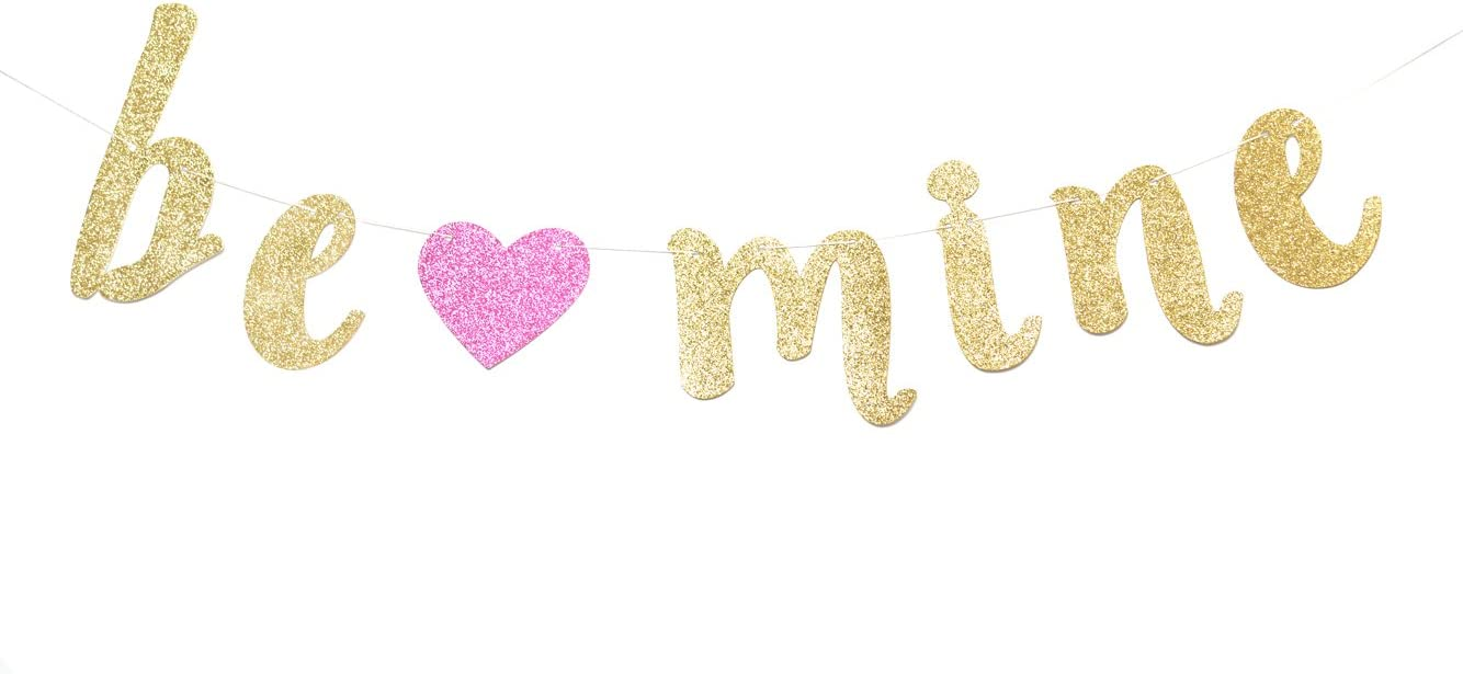 Valentines Day Decorations Be Mine Banner Gold Glitter Wedding Engagement Photo Props
