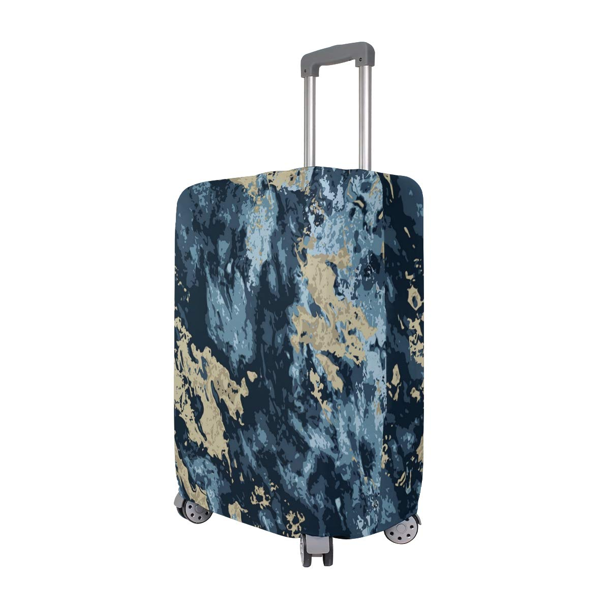 Blue Gold Marble Pattern Traveler Lightweight Rotating Luggage Cover Can Carry With You Can Expand Travel Bag Trolley Rolling Luggage Cover