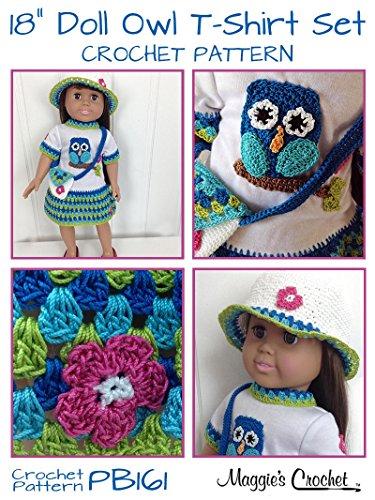 Crochet Pattern Owl T Shirt Dress Hat Purse For 18 Doll Pb161