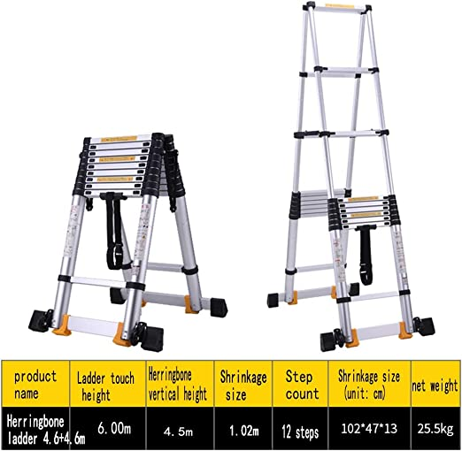 XEWNEG Escalera Telescópica, Escalera Plegable, Escaleras En El Pabellón del Jardín De La Oficina En El Hogar, Escalera Deslizante Portátil para Ahorrar Espacio (Size : 4.6m(15.1ft)): Amazon.es: Hogar