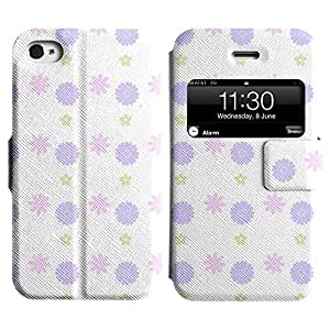 Be-Star Diseño Impreso Colorido Slim Casa Carcasa Funda Case PU Cuero - Stand Function para Apple iPhone 4 / 4S ( Pretty Flower )